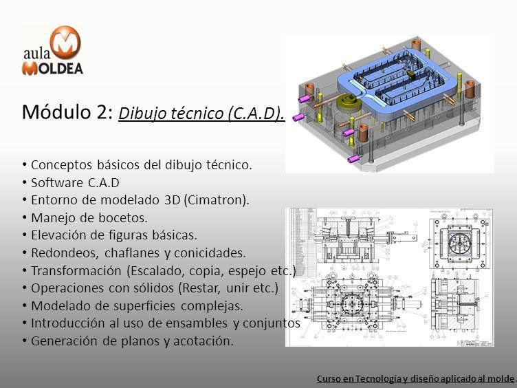 Módulo 2: Dibujo técnico (C.A.D). Curso en Tecnología y diseño aplicado al molde. Conceptos básicos del dibujo técnico. Software C.A.D Entorno de mode