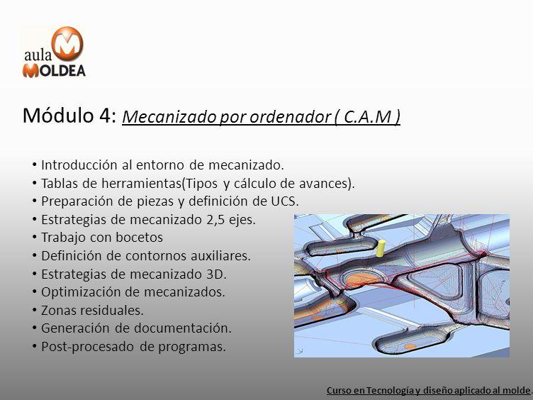 Módulo 4: Mecanizado por ordenador ( C.A.M ) Curso en Tecnología y diseño aplicado al molde. Introducción al entorno de mecanizado. Tablas de herramie