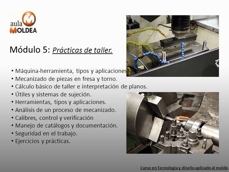 Módulo 5: Prácticas de taller. Curso en Tecnología y diseño aplicado al molde. Máquina-herramienta, tipos y aplicaciones. Mecanizado de piezas en fres
