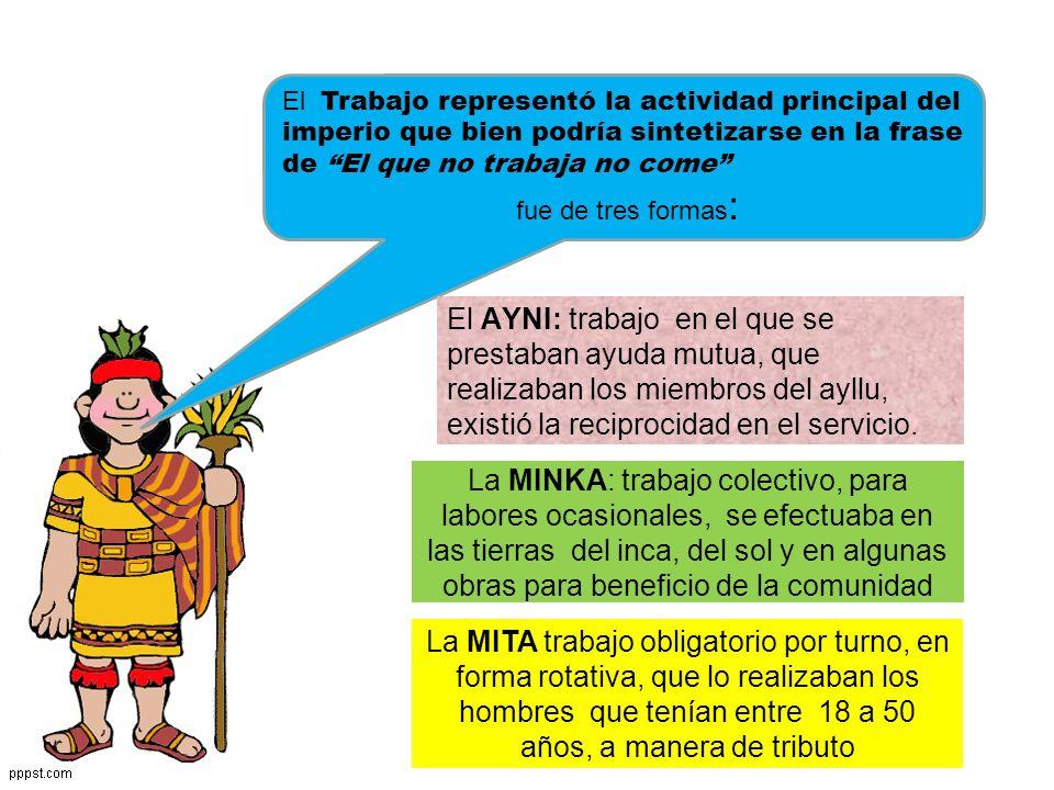 LA ORGANIZACIÓN DE LA ECONOMÍA INCAICA ESTUVO BASADA EN: LAS FORMAS DE TRABAJO: AYNI MINKA MITA