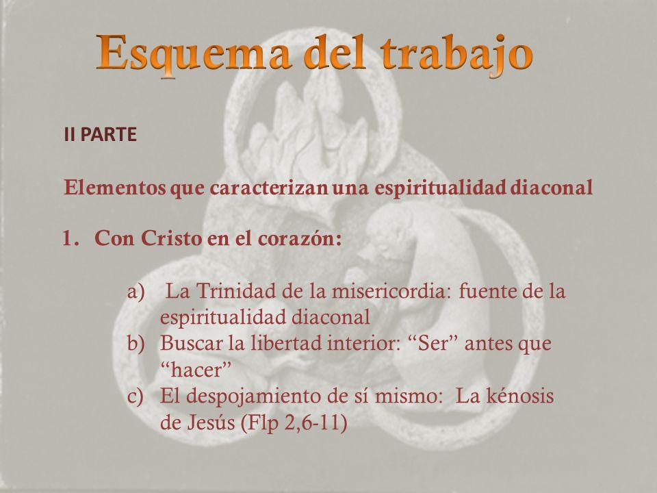 II PARTE Elementos que caracterizan una espiritualidad diaconal 1.Con Cristo en el corazón: a) La Trinidad de la misericordia: fuente de la espiritual