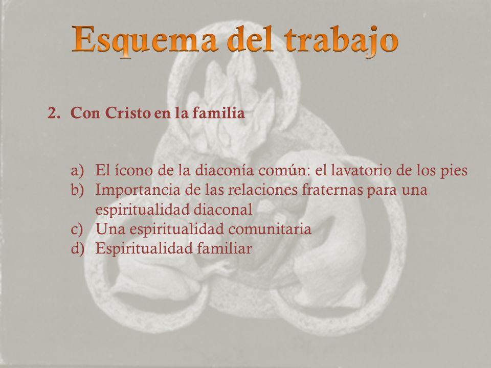 2. Con Cristo en la familia a)El ícono de la diaconía común: el lavatorio de los pies b)Importancia de las relaciones fraternas para una espiritualida