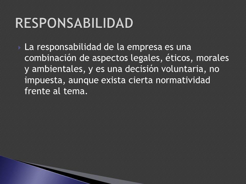 La responsabilidad de la empresa es una combinación de aspectos legales, éticos, morales y ambientales, y es una decisión voluntaria, no impuesta, aunque exista cierta normatividad frente al tema.