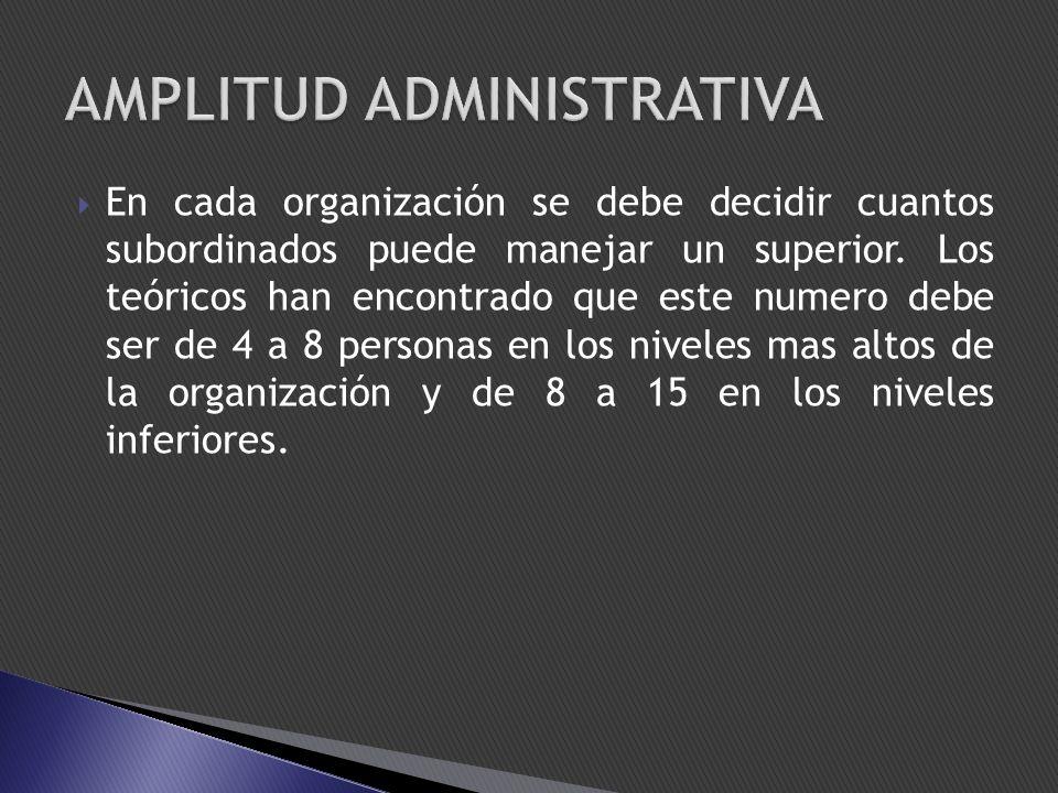 En cada organización se debe decidir cuantos subordinados puede manejar un superior. Los teóricos han encontrado que este numero debe ser de 4 a 8 per