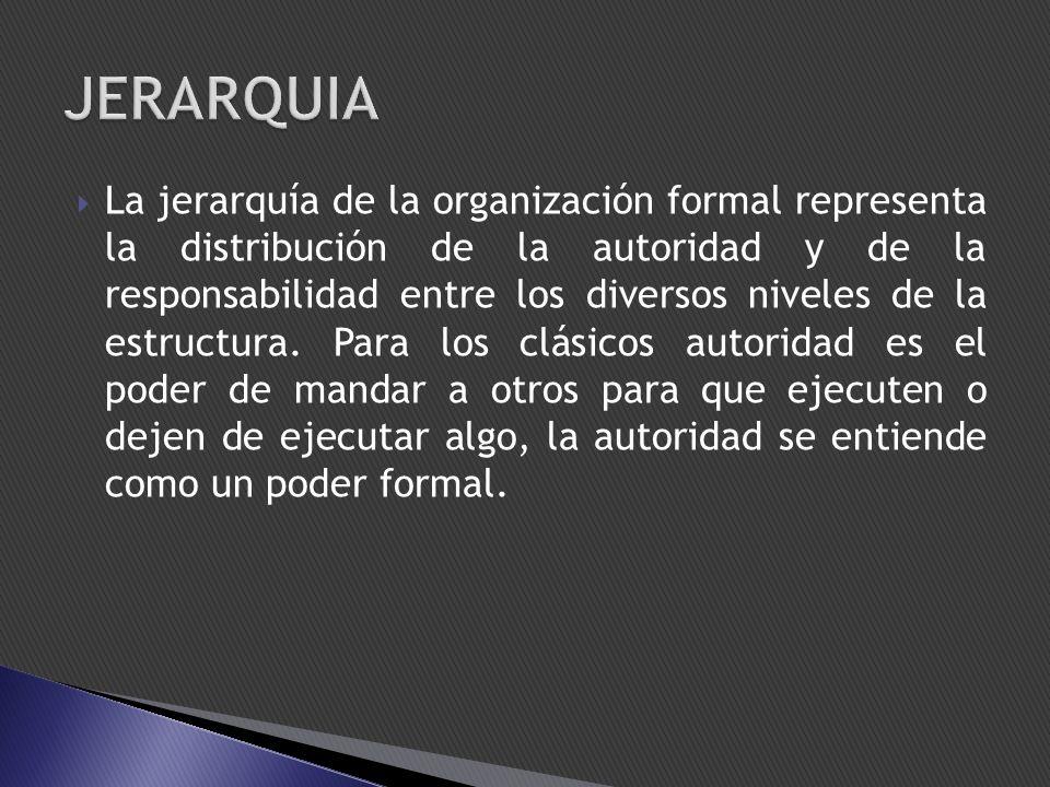 La jerarquía de la organización formal representa la distribución de la autoridad y de la responsabilidad entre los diversos niveles de la estructura.