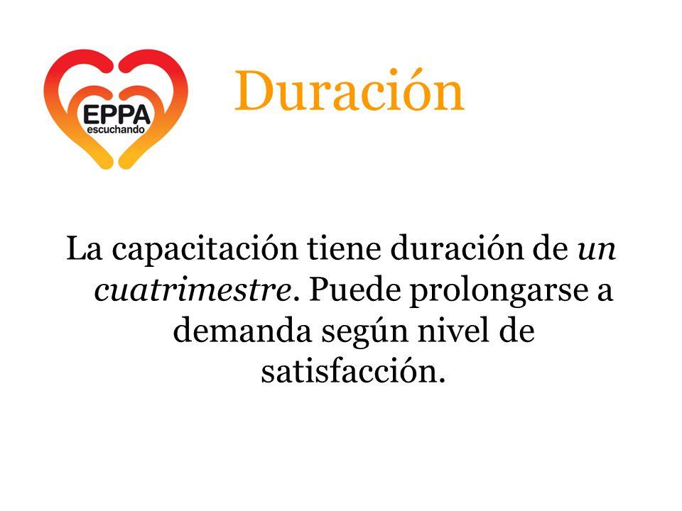 Duración La capacitación tiene duración de un cuatrimestre. Puede prolongarse a demanda según nivel de satisfacción.