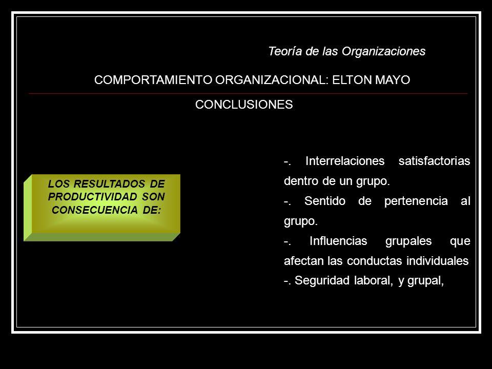 Teoría de las Organizaciones COMPORTAMIENTO ORGANIZACIONAL: ELTON MAYO CONCLUSIONES -. Interrelaciones satisfactorias dentro de un grupo. -. Sentido d