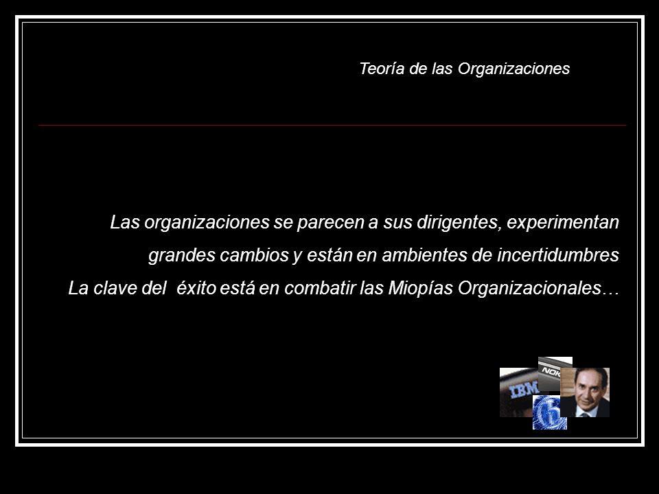 Teoría de las Organizaciones Las organizaciones se parecen a sus dirigentes, experimentan grandes cambios y están en ambientes de incertidumbres La clave del éxito está en combatir las Miopías Organizacionales…