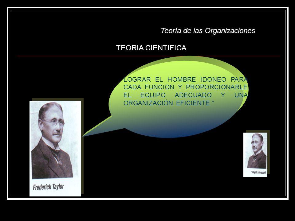 Teoría de las Organizaciones LOGRAR EL HOMBRE IDONEO PARA CADA FUNCION Y PROPORCIONARLE EL EQUIPO ADECUADO Y UNA ORGANIZACIÓN EFICIENTE TEORIA CIENTIF