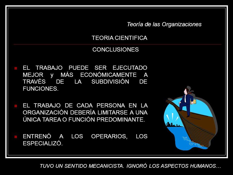 Teoría de las Organizaciones EL TRABAJO PUEDE SER EJECUTADO MEJOR y MÁS ECONÓMICAMENTE A TRAVÉS DE LA SUBDIVISIÓN DE FUNCIONES. EL TRABAJO DE CADA PER