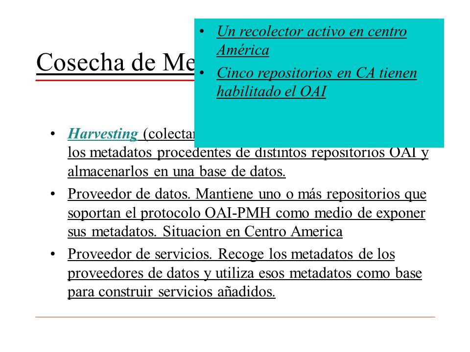 Cosecha de Metadatos (OAI-PMH) Harvesting (colectar). En el contexto OAI significa recoger los metadatos procedentes de distintos repositorios OAI y a