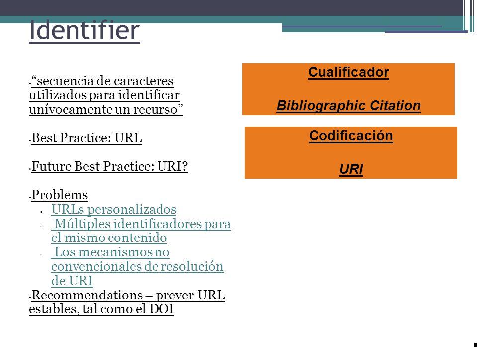 Identifier secuencia de caracteres utilizados para identificar unívocamente un recurso Best Practice: URL Future Best Practice: URI? Problems URLs per