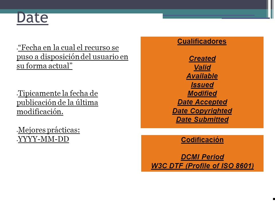 Date Fecha en la cual el recurso se puso a disposición del usuario en su forma actual Tipicamente la fecha de publicación de la última modificación. M