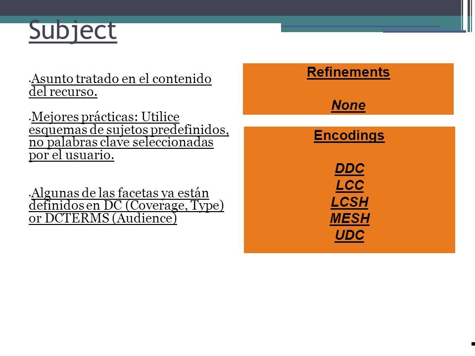 Subject Asunto tratado en el contenido del recurso. Mejores prácticas: Utilice esquemas de sujetos predefinidos, no palabras clave seleccionadas por e