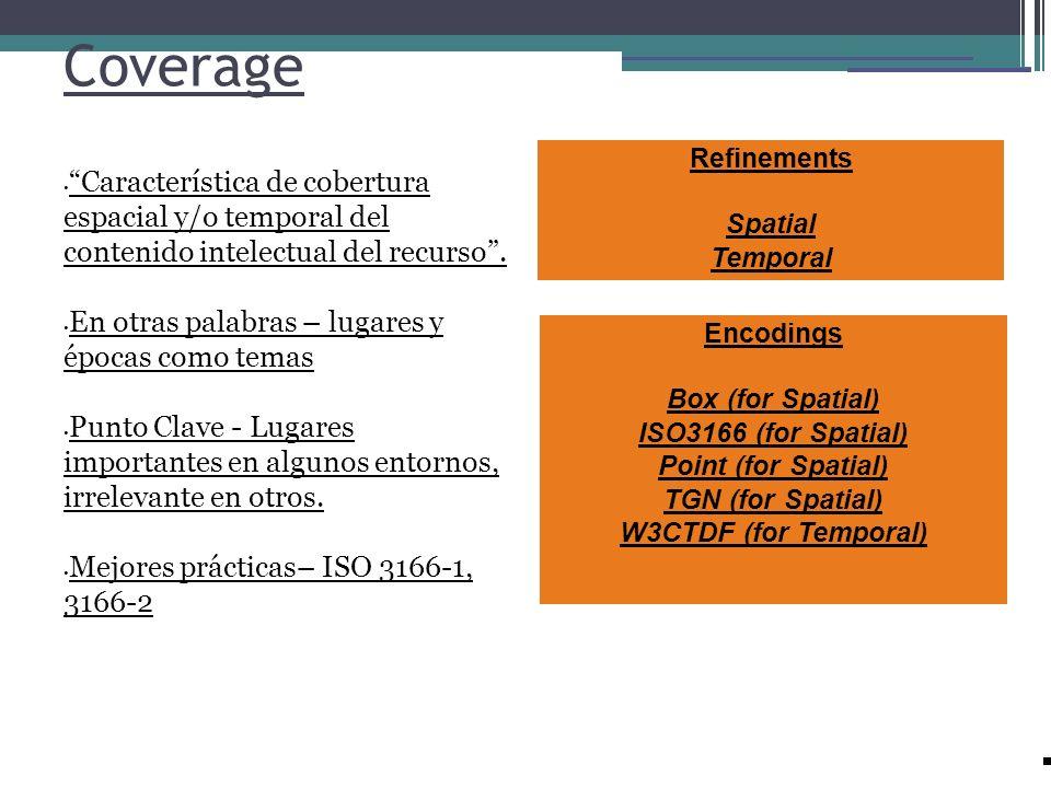 Coverage Característica de cobertura espacial y/o temporal del contenido intelectual del recurso. En otras palabras – lugares y épocas como temas Punt