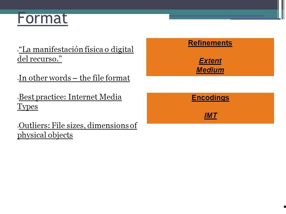 Format La manifestación física o digital del recurso. In other words – the file format Best practice: Internet Media Types Outliers: File sizes, dimen