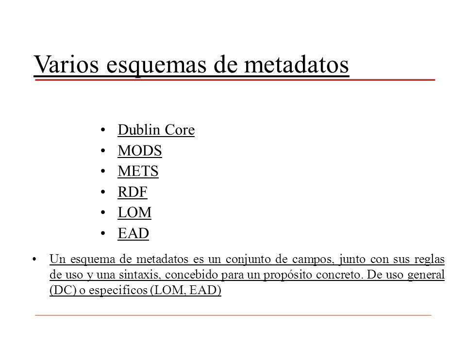 Varios esquemas de metadatos Dublin Core MODS METS RDF LOM EAD Un esquema de metadatos es un conjunto de campos, junto con sus reglas de uso y una sin