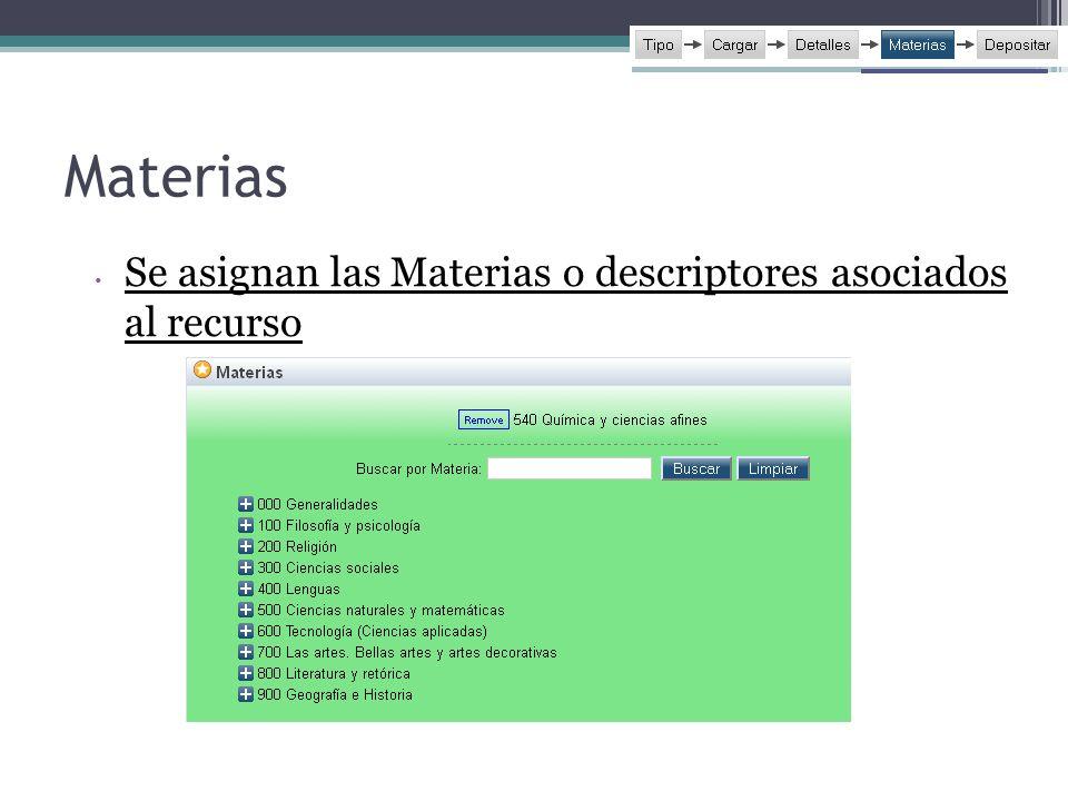 Materias Se asignan las Materias o descriptores asociados al recurso