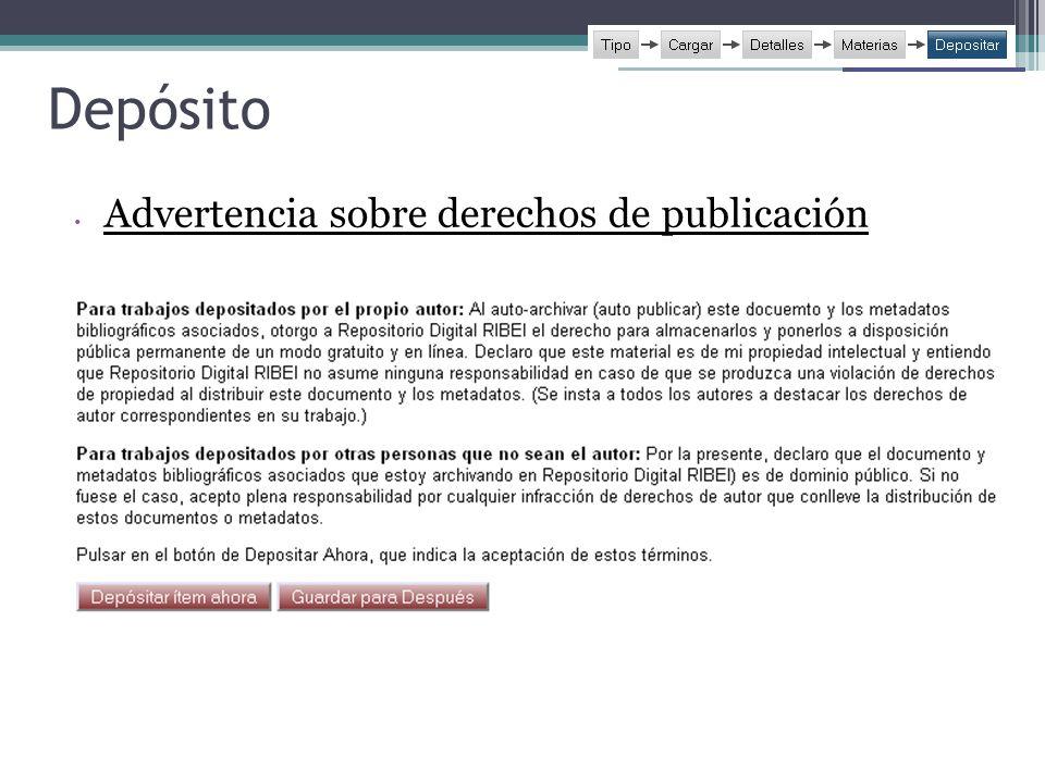 Depósito Advertencia sobre derechos de publicación