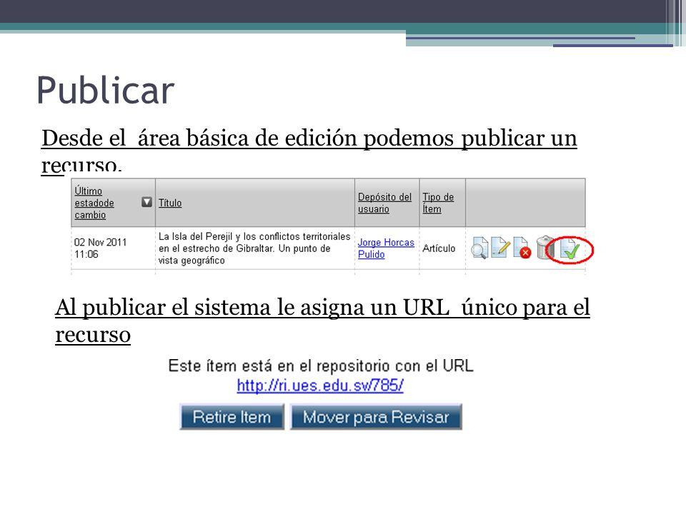 Publicar Desde el área básica de edición podemos publicar un recurso. Al publicar el sistema le asigna un URL único para el recurso