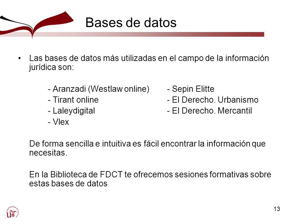 13 Bases de datos Las bases de datos más utilizadas en el campo de la información jurídica son: - Aranzadi (Westlaw online)- Sepin Elitte - Tirant online- El Derecho.