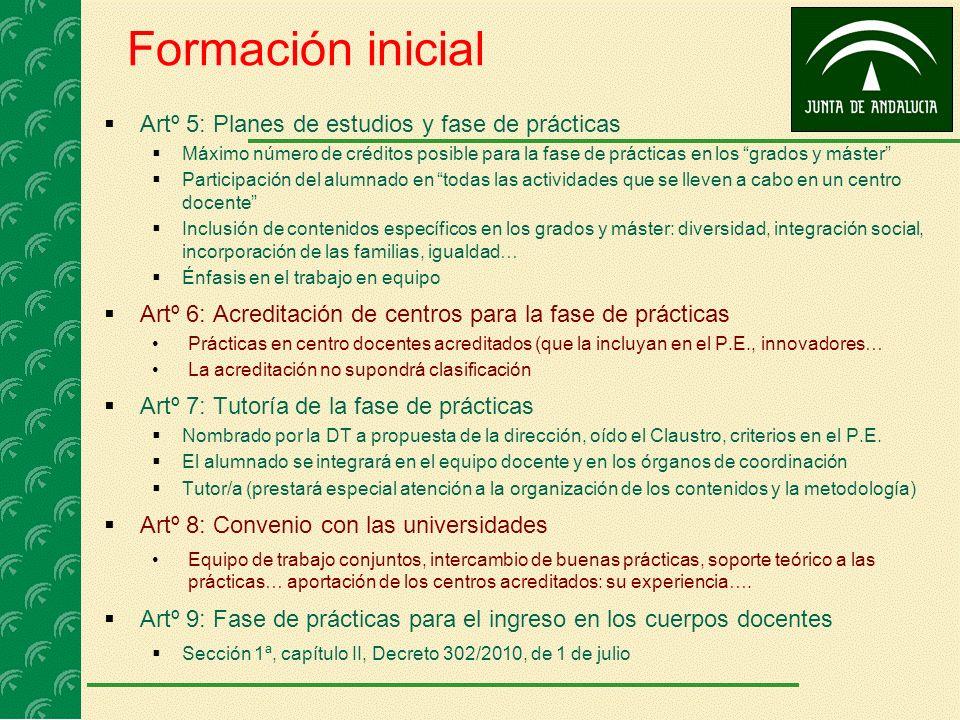 Formación inicial Artº 5: Planes de estudios y fase de prácticas Máximo número de créditos posible para la fase de prácticas en los grados y máster Pa