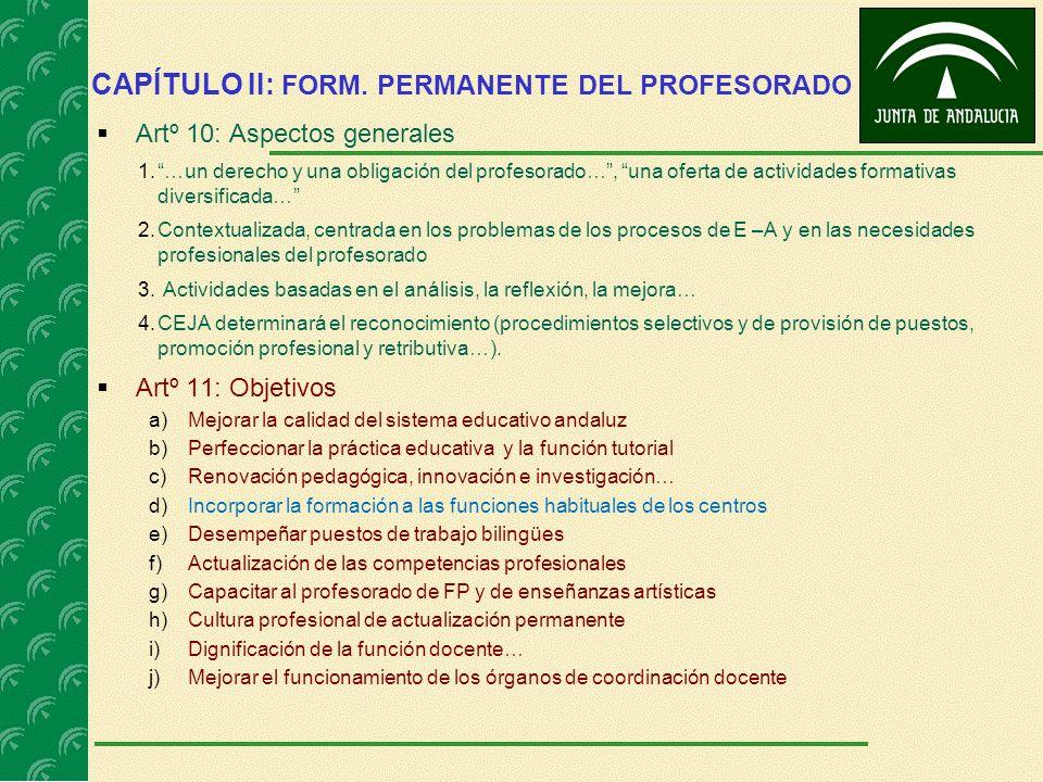 CAPÍTULO II: FORM. PERMANENTE DEL PROFESORADO Artº 10: Aspectos generales 1.…un derecho y una obligación del profesorado…, una oferta de actividades f