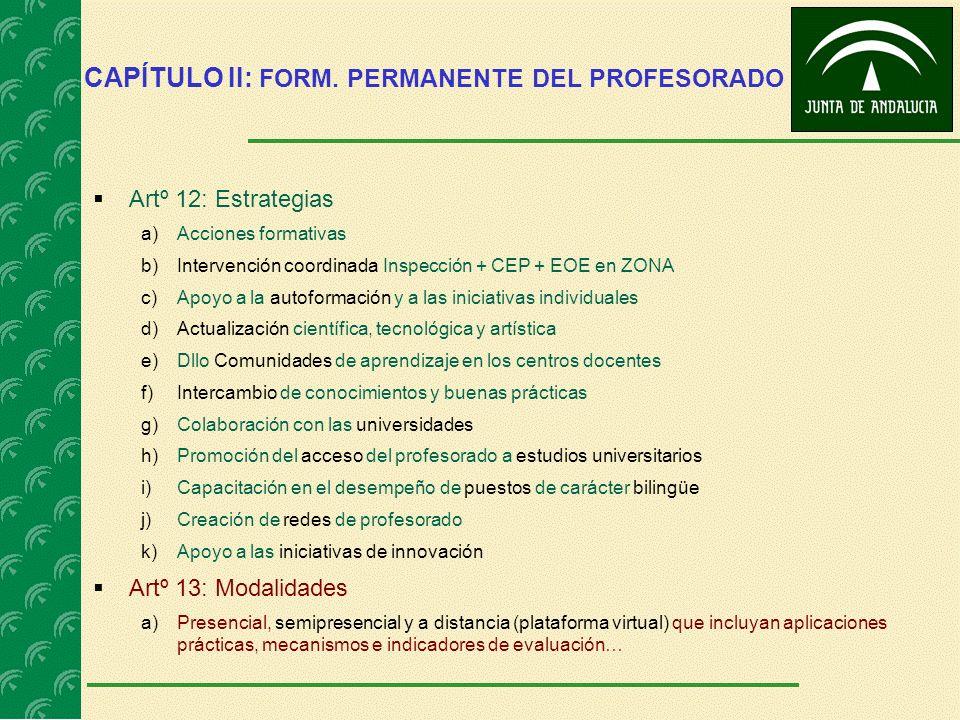CAPÍTULO II: FORM. PERMANENTE DEL PROFESORADO Artº 12: Estrategias a)Acciones formativas b)Intervención coordinada Inspección + CEP + EOE en ZONA c)Ap