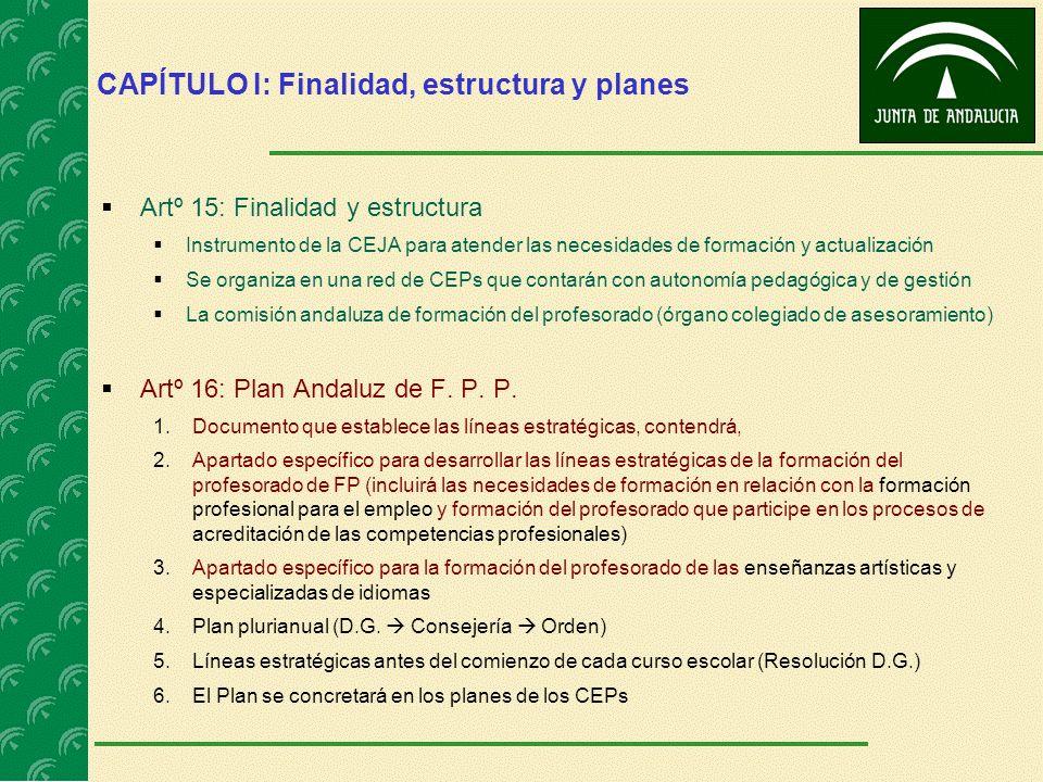 CAPÍTULO I: Finalidad, estructura y planes Artº 15: Finalidad y estructura Instrumento de la CEJA para atender las necesidades de formación y actualiz