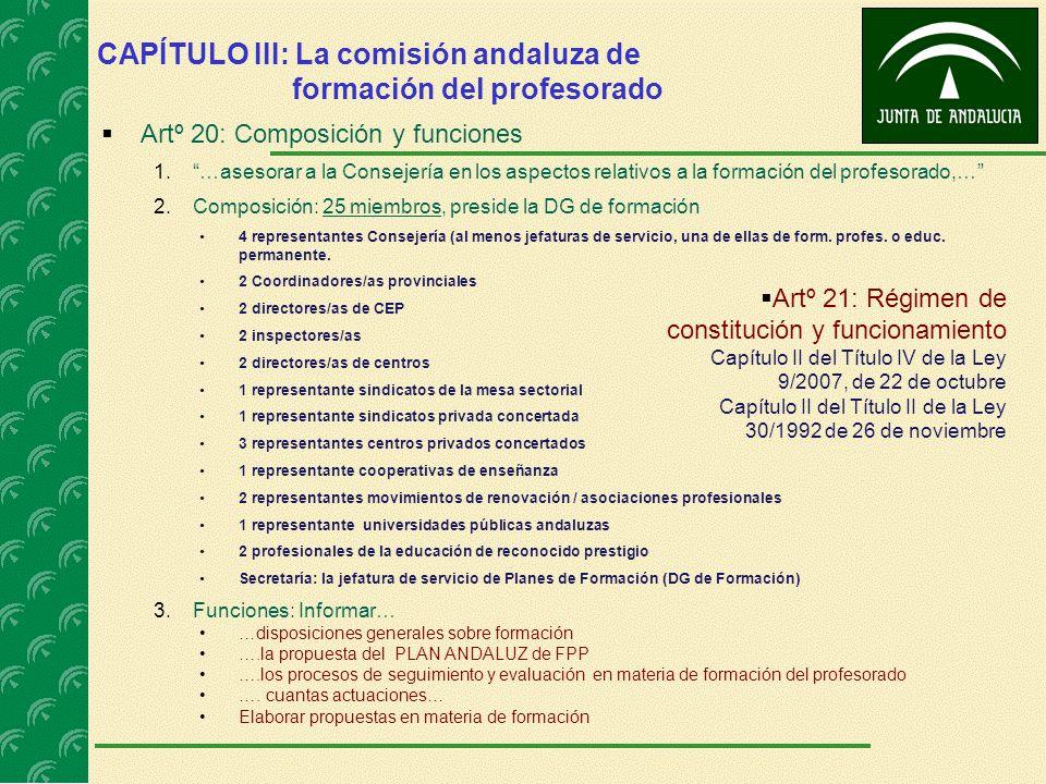 CAPÍTULO III: La comisión andaluza de formación del profesorado Artº 20: Composición y funciones 1.…asesorar a la Consejería en los aspectos relativos