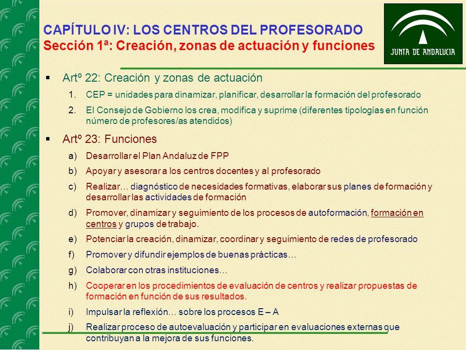 CAPÍTULO IV: LOS CENTROS DEL PROFESORADO Sección 1ª: Creación, zonas de actuación y funciones Artº 22: Creación y zonas de actuación 1.CEP = unidades