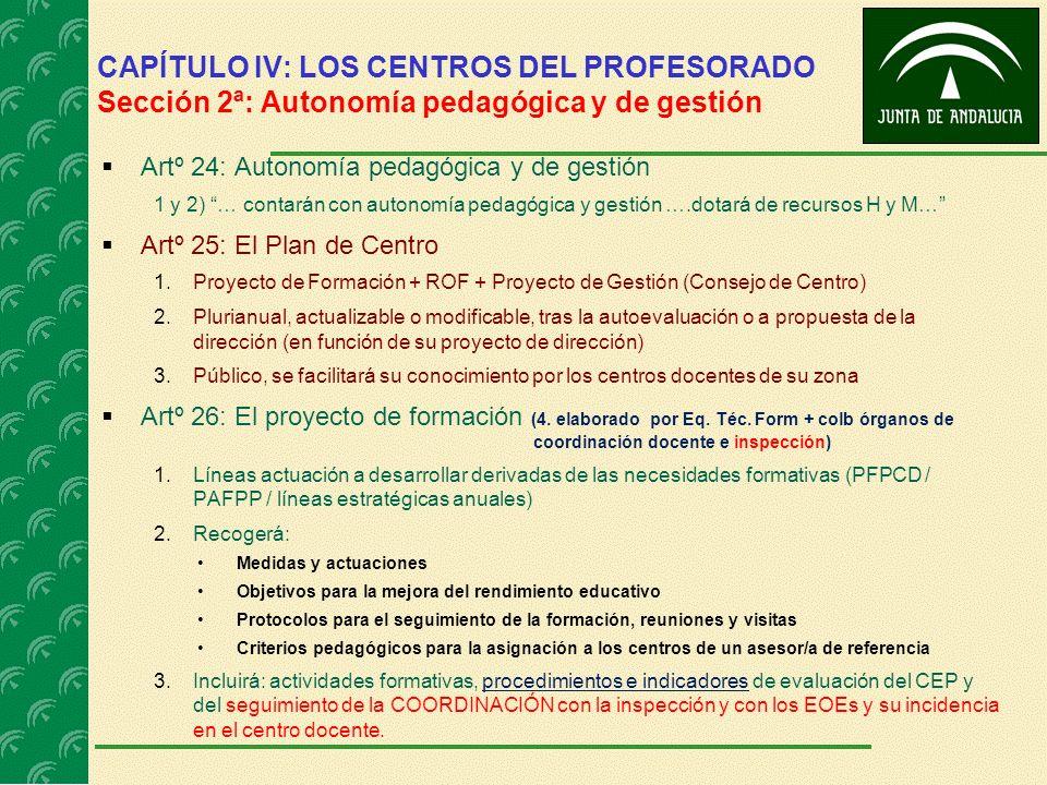 CAPÍTULO IV: LOS CENTROS DEL PROFESORADO Sección 2ª: Autonomía pedagógica y de gestión Artº 24: Autonomía pedagógica y de gestión 1 y 2) … contarán co