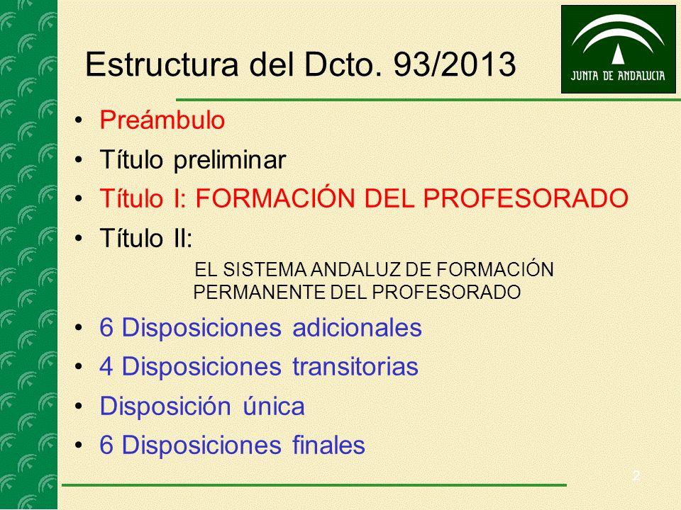 Estructura del Dcto. 93/2013 Preámbulo Título preliminar Título I: FORMACIÓN DEL PROFESORADO Título II: EL SISTEMA ANDALUZ DE FORMACIÓN PERMANENTE DEL