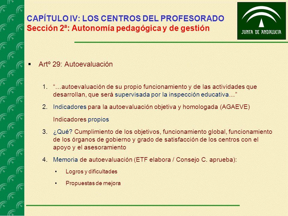 CAPÍTULO IV: LOS CENTROS DEL PROFESORADO Sección 2ª: Autonomía pedagógica y de gestión Artº 29: Autoevaluación 1.…autoevaluación de su propio funciona