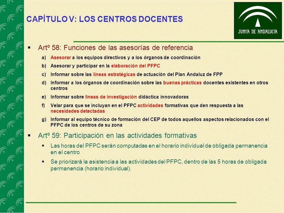 CAPÍTULO V: LOS CENTROS DOCENTES Artº 58: Funciones de las asesorías de referencia a)Asesorar a los equipos directivos y a los órganos de coordinación