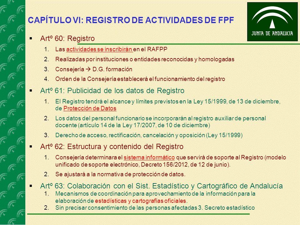 CAPÍTULO VI: REGISTRO DE ACTIVIDADES DE FPF Artº 60: Registro 1.Las actividades se inscribirán en el RAFPP 2.Realizadas por instituciones o entidades