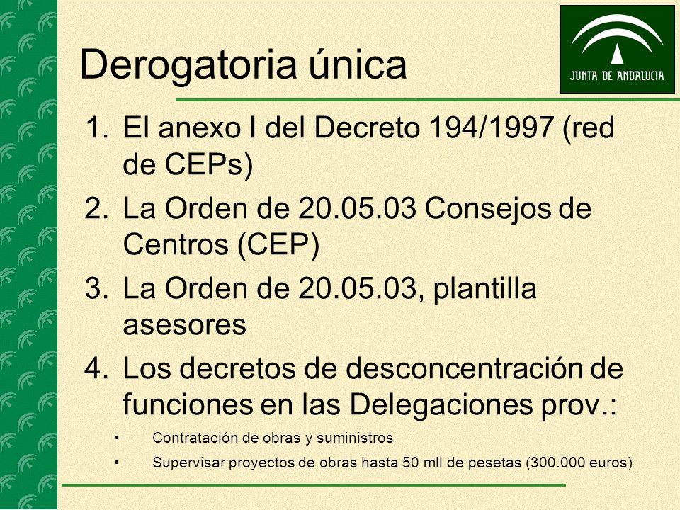 Derogatoria única 1.El anexo I del Decreto 194/1997 (red de CEPs) 2.La Orden de 20.05.03 Consejos de Centros (CEP) 3.La Orden de 20.05.03, plantilla a