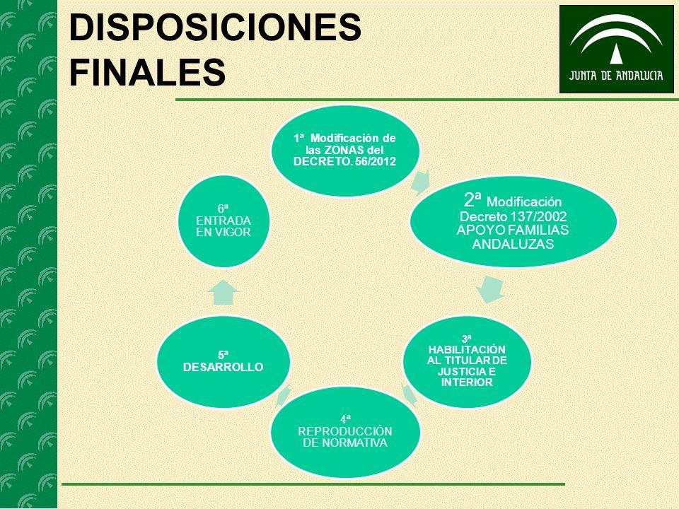 DISPOSICIONES FINALES 1ª Modificación de las ZONAS del DECRETO. 56/2012 2ª Modificación Decreto 137/2002 APOYO FAMILIAS ANDALUZAS 3ª HABILITACIÓN AL T