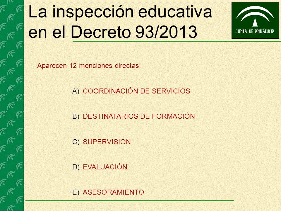 La inspección educativa en el Decreto 93/2013 Aparecen 12 menciones directas: A)COORDINACIÓN DE SERVICIOS B)DESTINATARIOS DE FORMACIÓN C)SUPERVISIÓN D