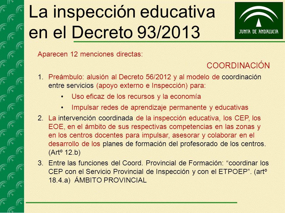 La inspección educativa en el Decreto 93/2013 Aparecen 12 menciones directas: COORDINACIÓN 1.Preámbulo: alusión al Decreto 56/2012 y al modelo de coor
