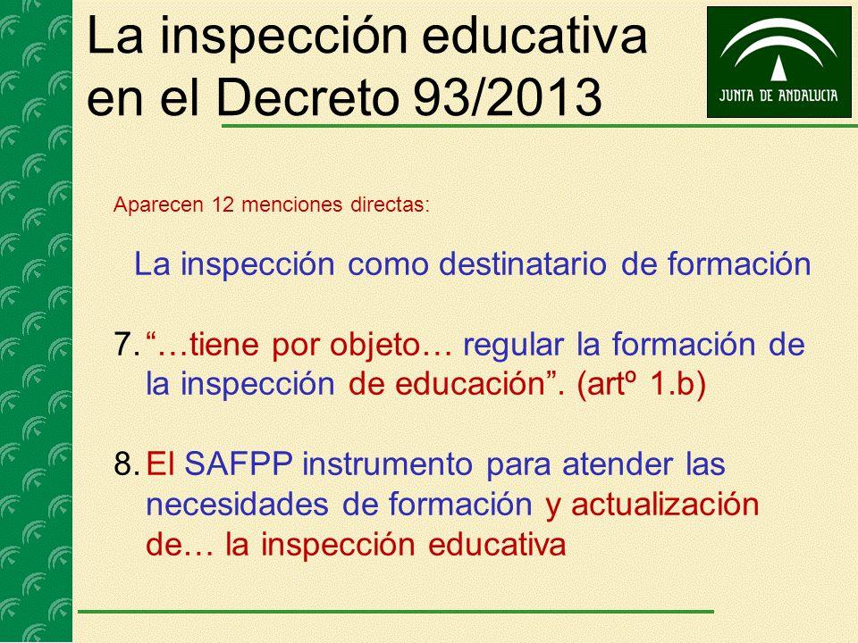 La inspección educativa en el Decreto 93/2013 Aparecen 12 menciones directas: La inspección como destinatario de formación 7.…tiene por objeto… regula