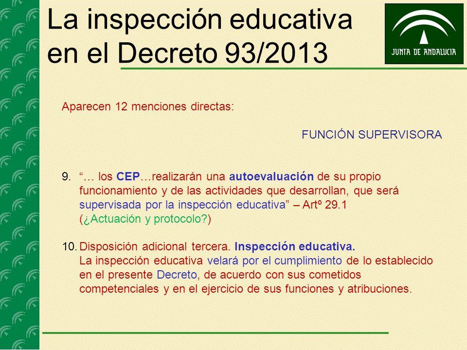 La inspección educativa en el Decreto 93/2013 Aparecen 12 menciones directas: FUNCIÓN SUPERVISORA 9.… los CEP…realizarán una autoevaluación de su prop