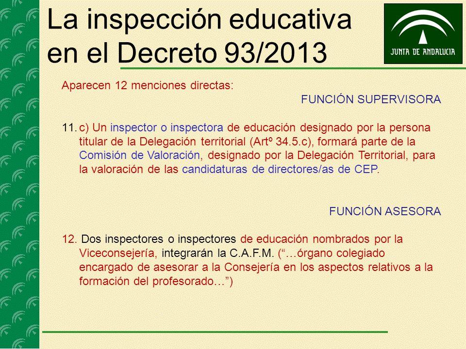 La inspección educativa en el Decreto 93/2013 Aparecen 12 menciones directas: FUNCIÓN SUPERVISORA 11.c) Un inspector o inspectora de educación designa