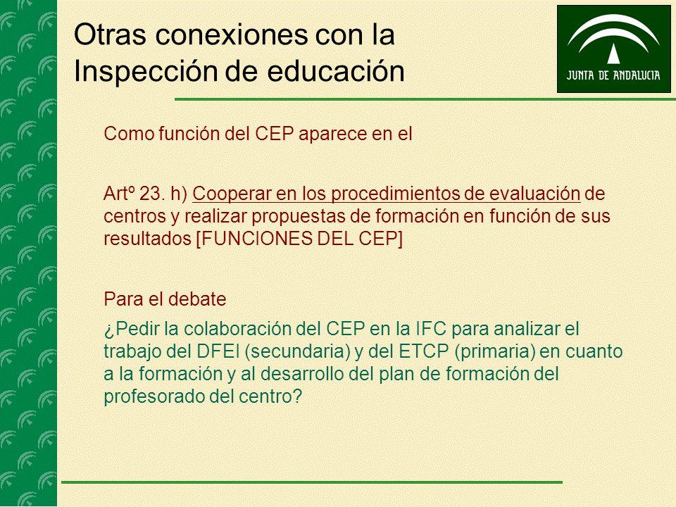 Otras conexiones con la Inspección de educación Como función del CEP aparece en el Artº 23. h) Cooperar en los procedimientos de evaluación de centros