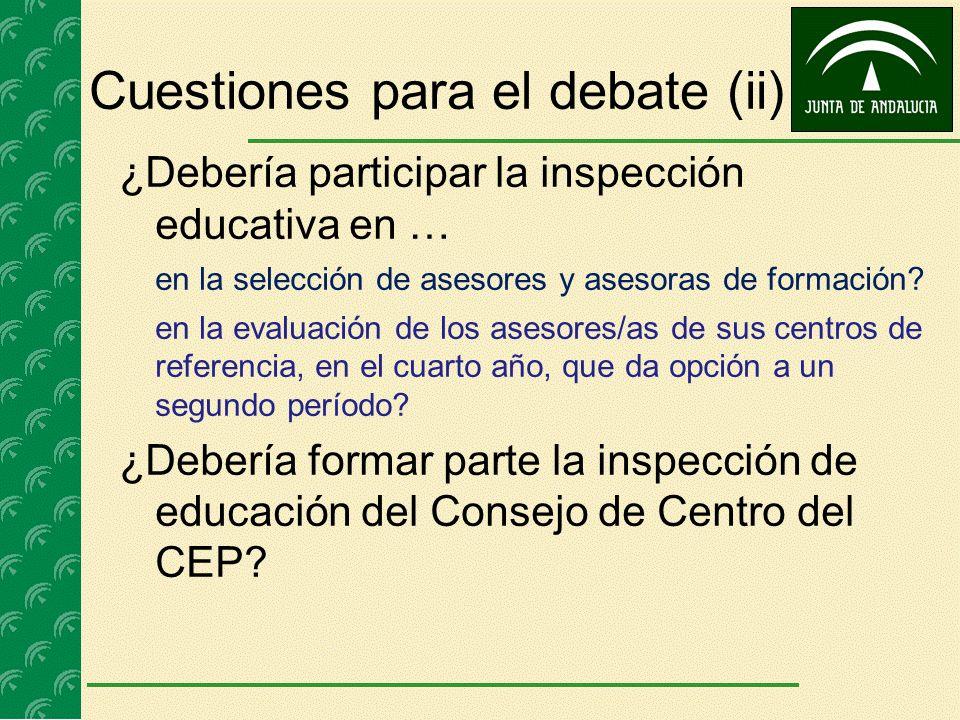Cuestiones para el debate (ii) ¿Debería participar la inspección educativa en … en la selección de asesores y asesoras de formación? en la evaluación