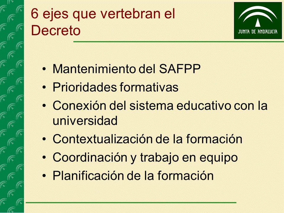 6 ejes que vertebran el Decreto Mantenimiento del SAFPP Prioridades formativas Conexión del sistema educativo con la universidad Contextualización de