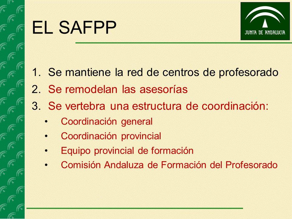 EL SAFPP 1.Se mantiene la red de centros de profesorado 2.Se remodelan las asesorías 3.Se vertebra una estructura de coordinación: Coordinación genera
