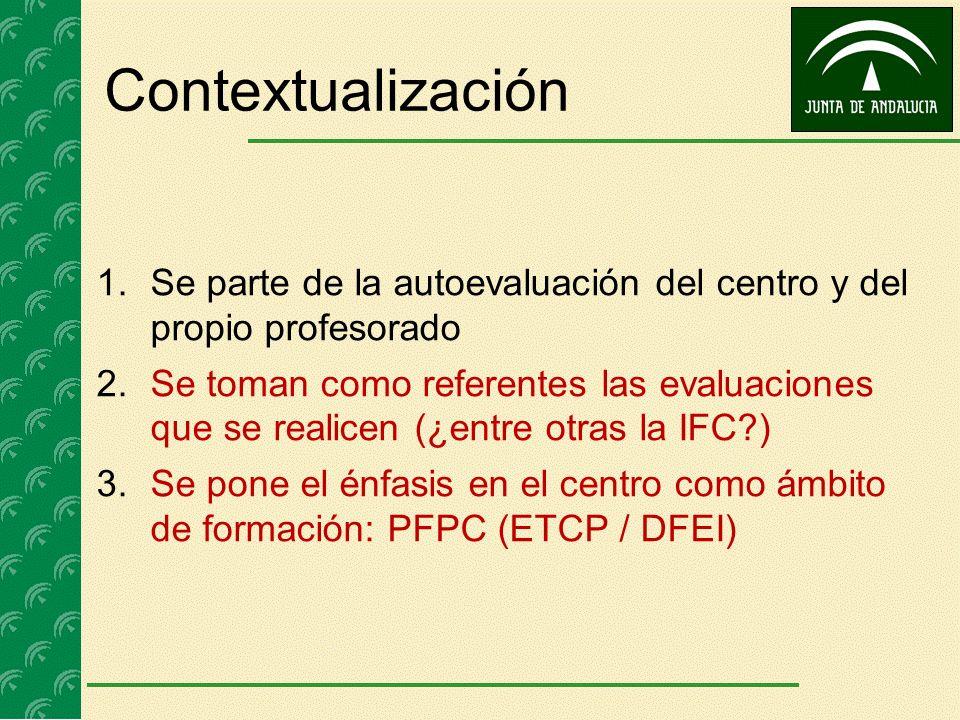 Contextualización 1.Se parte de la autoevaluación del centro y del propio profesorado 2.Se toman como referentes las evaluaciones que se realicen (¿en