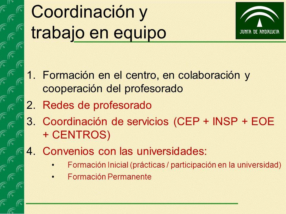 Coordinación y trabajo en equipo 1.Formación en el centro, en colaboración y cooperación del profesorado 2.Redes de profesorado 3.Coordinación de serv