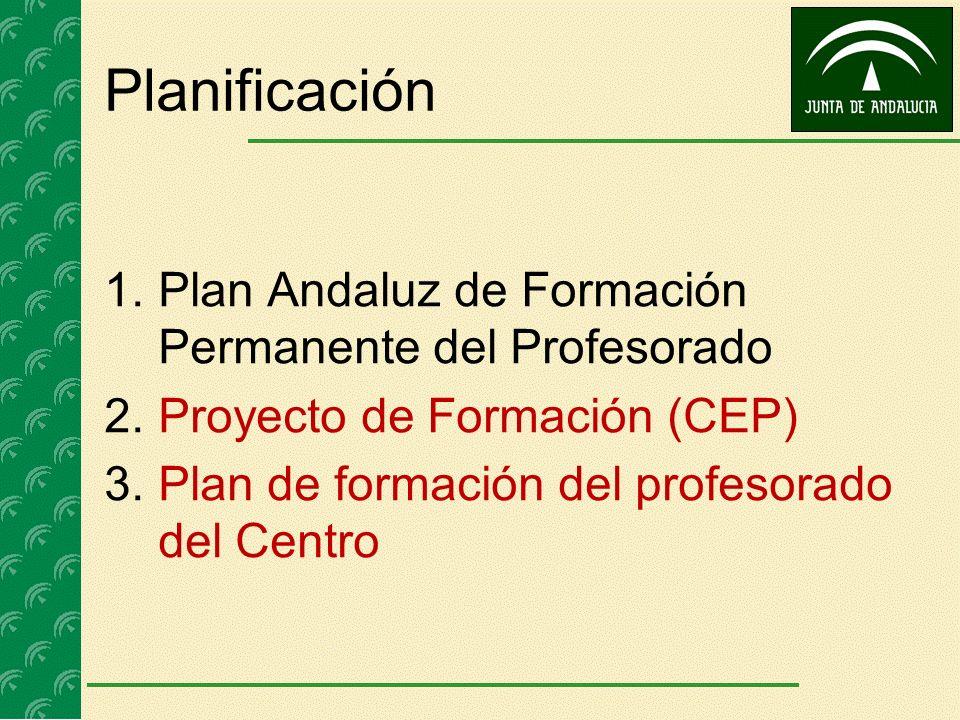 Planificación 1.Plan Andaluz de Formación Permanente del Profesorado 2.Proyecto de Formación (CEP) 3.Plan de formación del profesorado del Centro